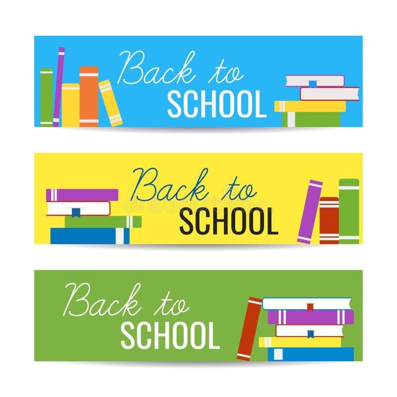 Modern kleurrijk horizontaal bannersmalplaatje met stapel boeken en terug naar Schooltekst Bibliotheek, onderwijsconcept stock illustratie