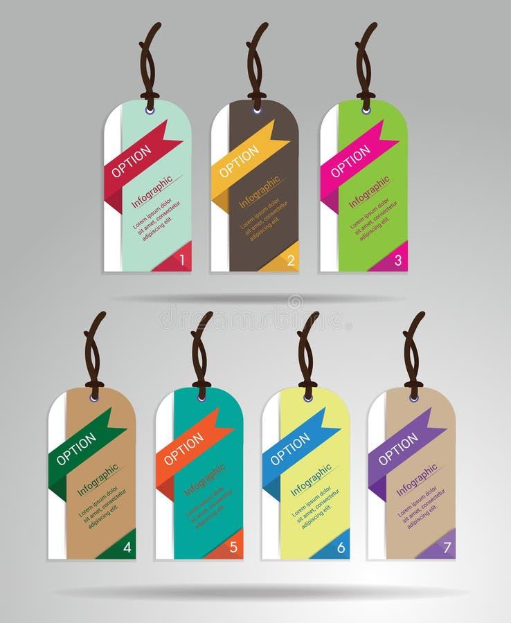 Modern kleurrijk markeringen en het hangen etikettenontwerp met steekproeftekst, royalty-vrije illustratie