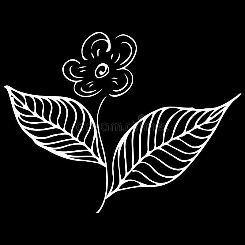 Modern klottersymbol med linjen för blommaöversiktshand Handteckningen skissar vektorbakgrund Vektorklotterbakgrund blomman blomm vektor illustrationer