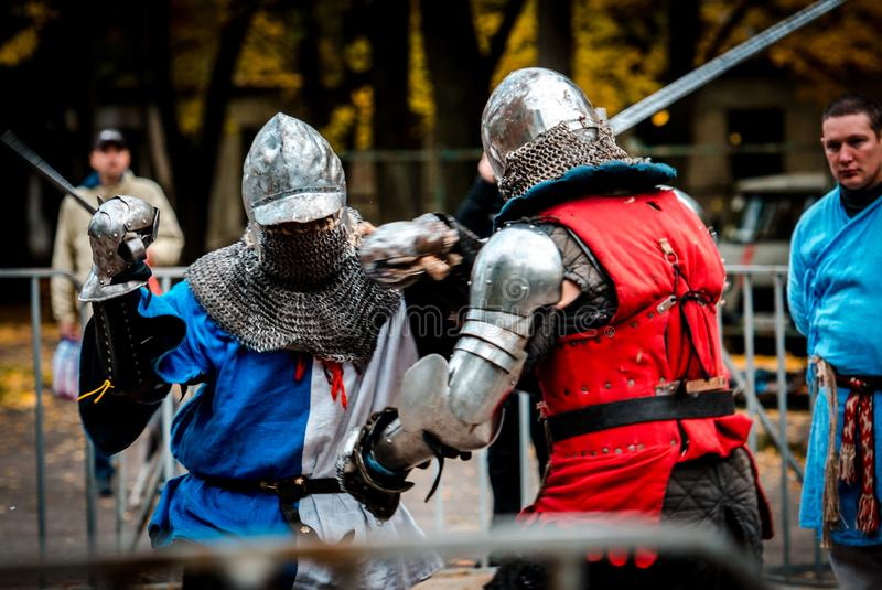 Modern knights on the battlefield royalty free stock image