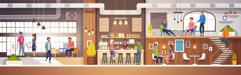Modern koffiebinnenland in zolderstijl Hoogtepunt van mensen Restaurant Vlakke Vectorillustratie royalty-vrije illustratie