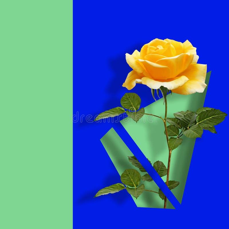 Modern modern konstaffisch med den gula rosen på blå abstrakt bakgrund royaltyfri illustrationer