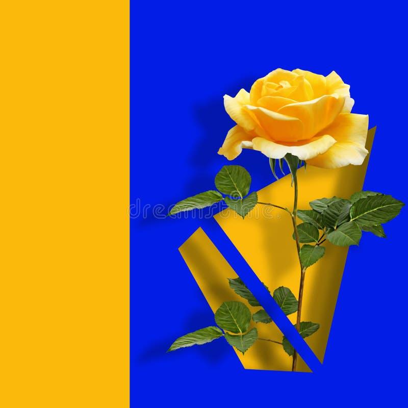 Modern modern konstaffisch med den gula rosen på blå abstrakt bakgrund royaltyfri bild
