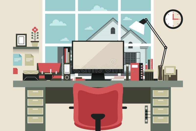 Modern kontorsinre i plan design royaltyfri illustrationer