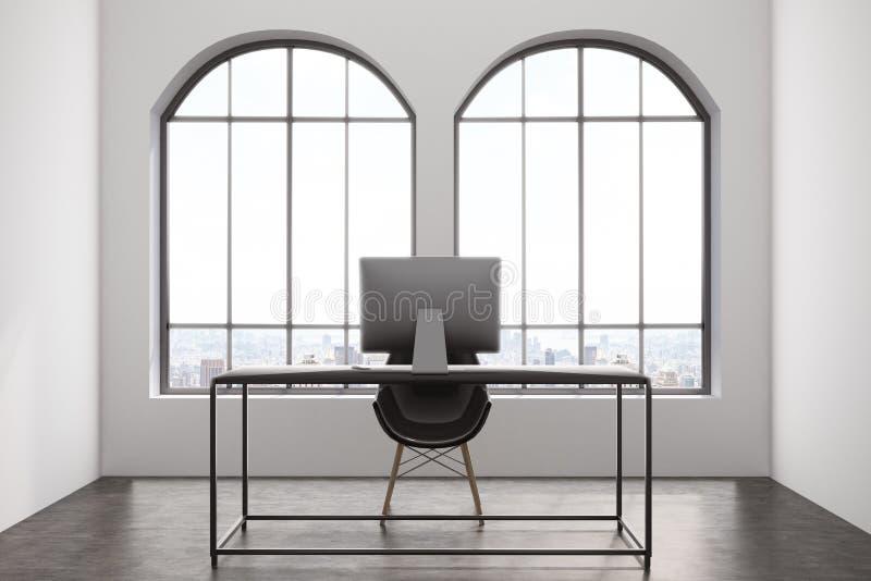 Modern kontorsinre med två fönster stock illustrationer