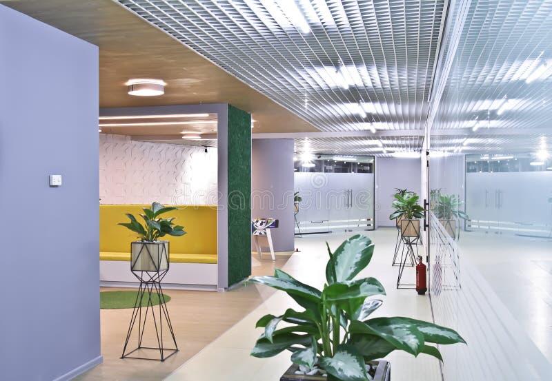 modern kontorsruminre Inre korridor i en modern kontorsaffärsmitt royaltyfria bilder