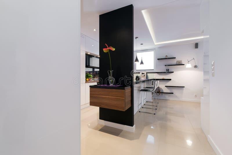 Modern korridor i lyxig lägenhet arkivbild