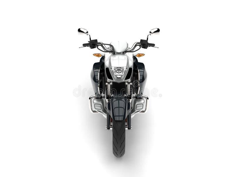 Modern kraftig motorcykel för toppen silver - främre sikt vektor illustrationer
