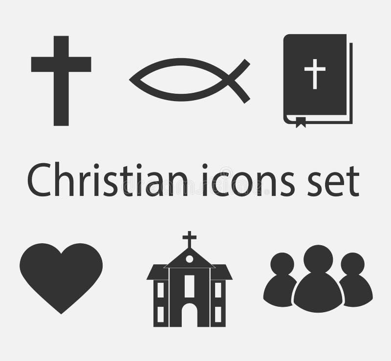 Modern kristen symbolsuppsättning Kristen tecken- och symbolsamling royaltyfri illustrationer