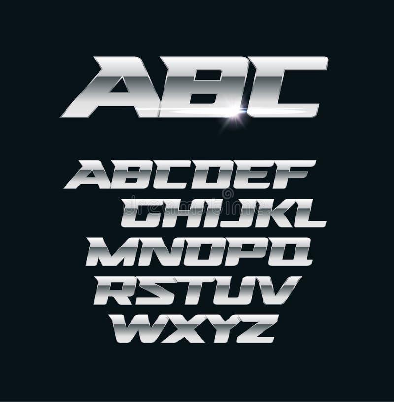 Modern kromvektorstilsort Metalliska bokstäver, polerade stålstilsymboler Djärvt geometriskt alfabet för aluminium vektor illustrationer