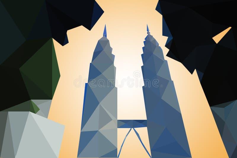 Modern Kuala Lumpur City Skyline polygon Design.  royalty free illustration
