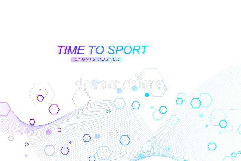 Modern kulör sportbakgrund Den abstrakta designen med linjer, flödesvågen, sexhörning, förhäxer för din design begrepp isolerad s stock illustrationer