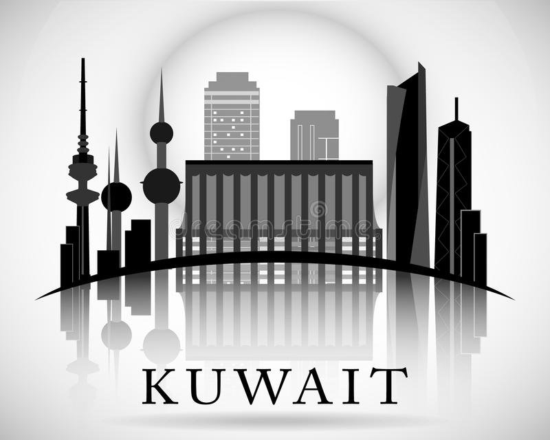 Modern Kuwait City horisontdesign royaltyfri illustrationer