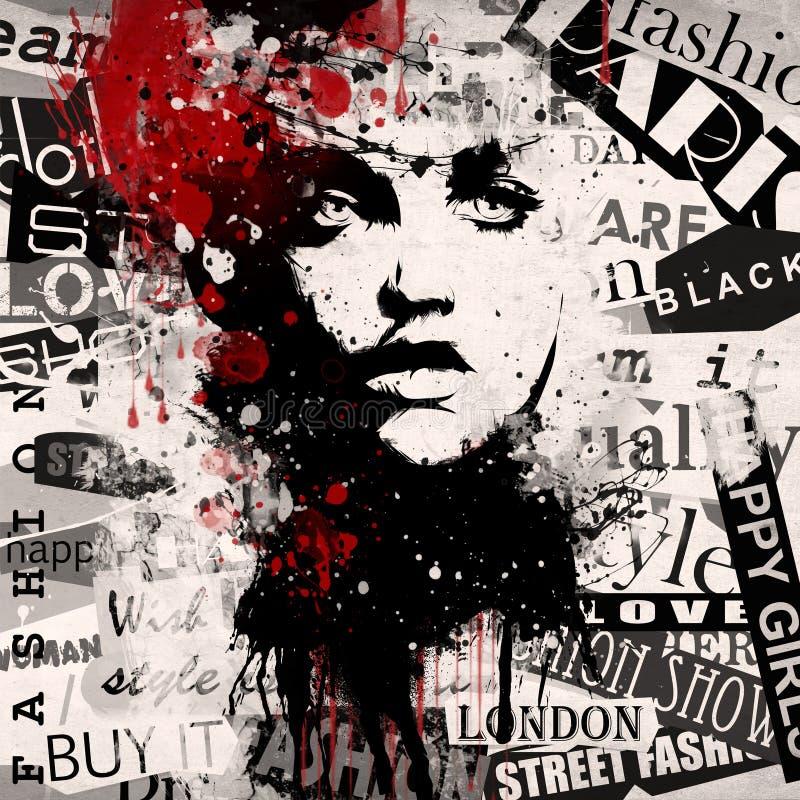 Modern kvinna på grungebakgrund vektor illustrationer