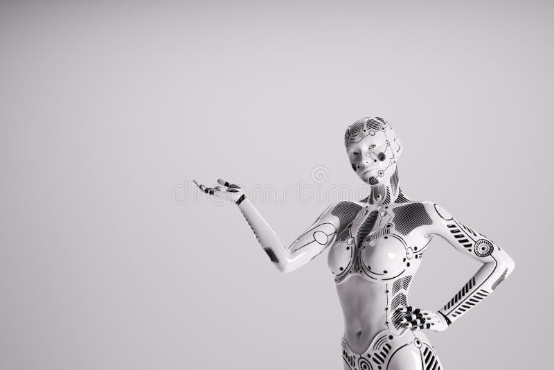 Modern kvinnlig robot p? vit bakgrund royaltyfri illustrationer