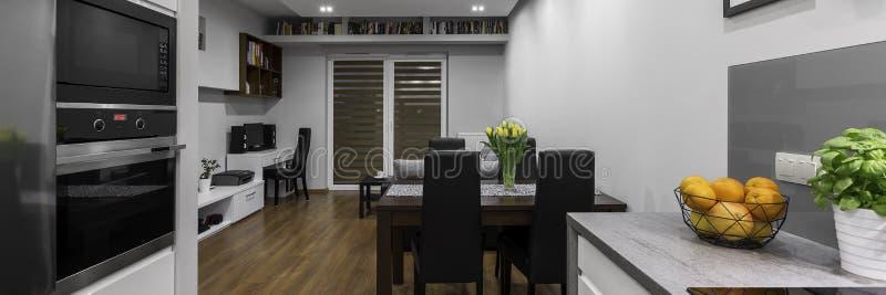 Modern lägenhet, panorama royaltyfri foto