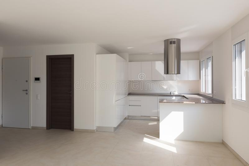 Modern lägenhet, två dörrar, kök arkivfoton