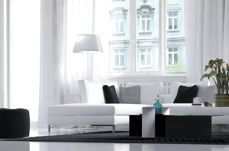 Modern lägenhetvardagsruminre vektor illustrationer