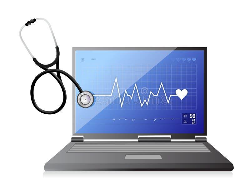 Modern läkarundersökningapp-bärbar dator med en stetoskop vektor illustrationer