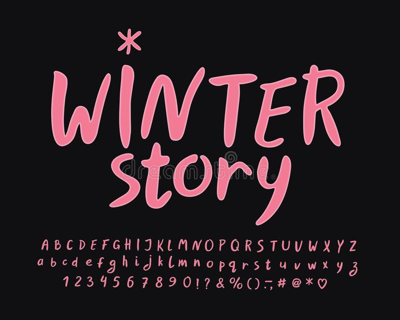 Modern Label with handwritten text Winter story. Vector Alphabet set stock illustration