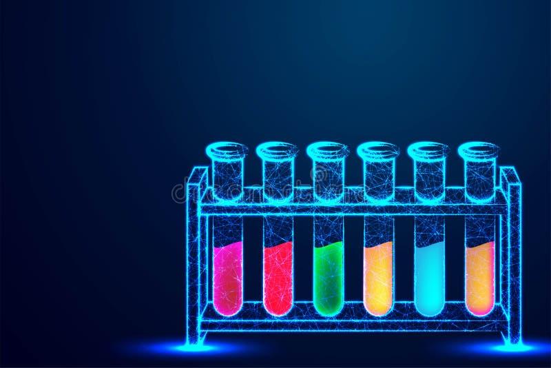 Modern laboratoriumconcept, glaswerk of beker Abstracte ontwerpen van het verbinden van punt en lijn Vector illustratie stock illustratie