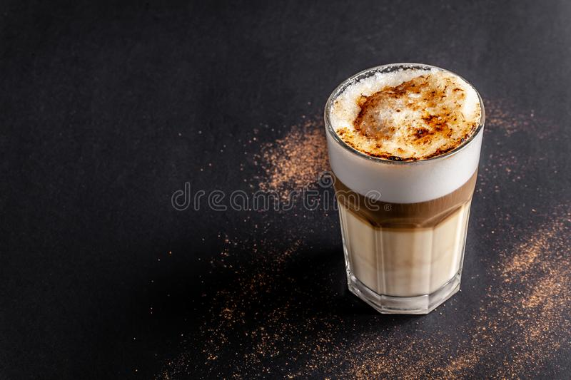 Modern, lactose-free Latte or Cappuccino coffee with almond milk. Above the fire sugar burned sugar. Caramel crust. A modern, lactose-free Latte or Cappuccino royalty free stock photography