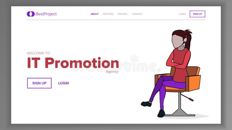 Modern Landing Page Concept Vector. Woman. Line. Main Website Page Design. Consumerism Template Illustration royalty free illustration