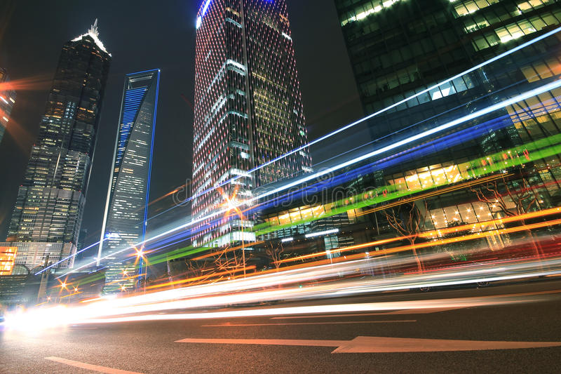Download Modern Landmark Building Background Of Car Night With Light Trai Stock Photography - Image: 27670512