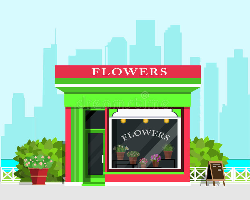 Modern landscape with flower shop icon, fence, flowers and bushes. Flat style. royalty free illustration