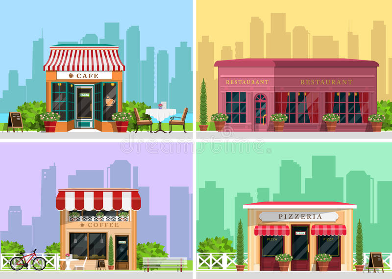 Modern landscape set with cafe, restaurant, pizzeria, coffee house building, trees, bushes, flowers, benches, restaurant tables. stock illustration