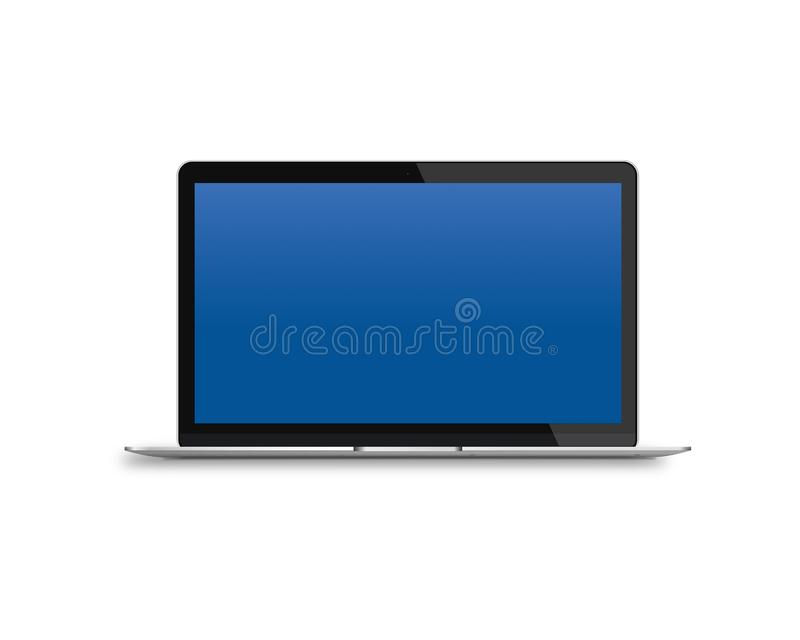 Modern laptop with blue screen isolated on a white background royalty free stock photography