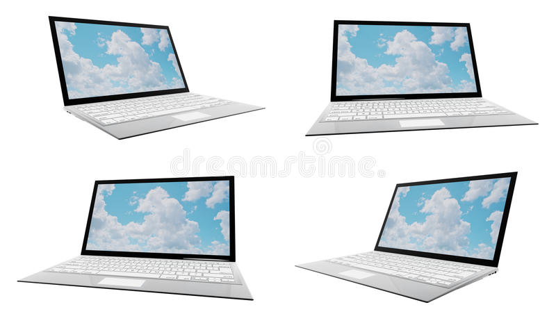 Download Modern Laptop In Four Different Angles Royalty Free Stock Photos - Image: 27419268