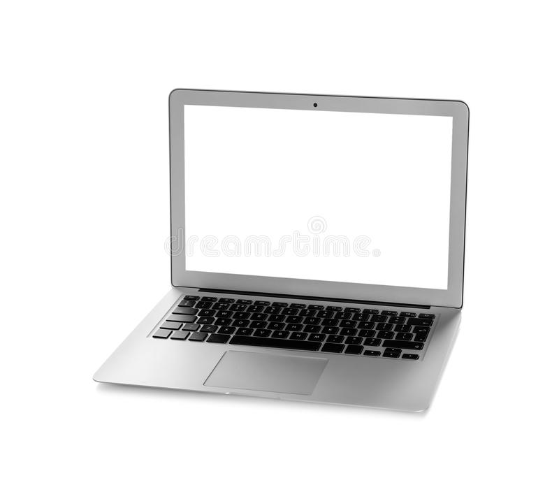 Modern laptop monitor on white background. Mock up with space for text royalty free stock image