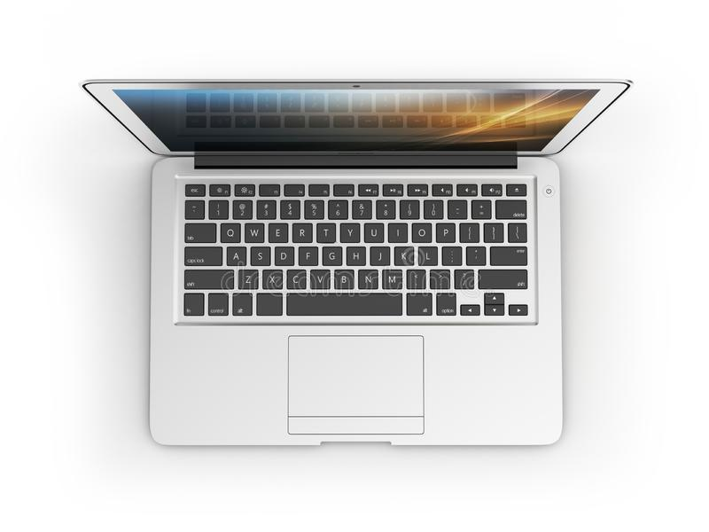 Modern laptop top view isolated on white background 3d. Modern laptop top view isolated on white background vector illustration