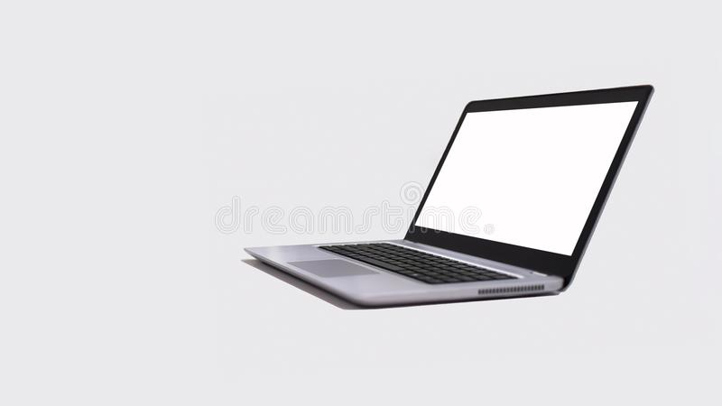 Modern laptop, with white screen, isolated on white background - right side royalty free stock photo