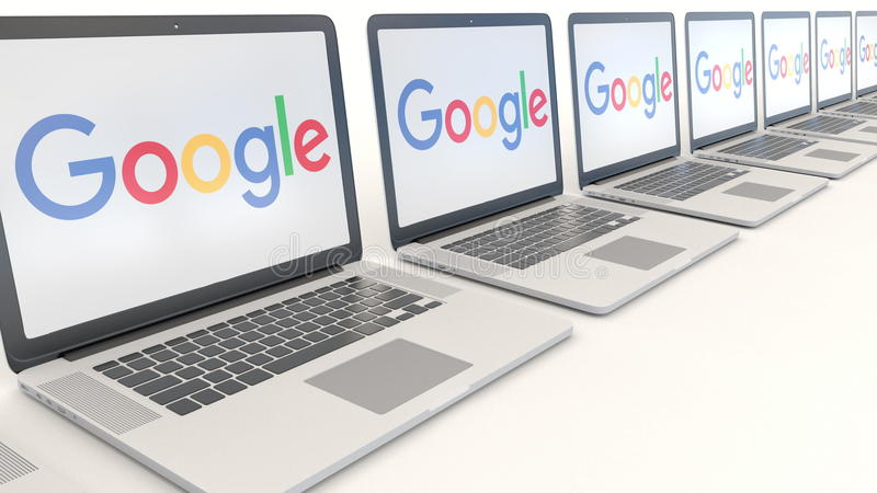 Modern laptops with Google logo. Computer technology conceptual editorial 3D rendering. Modern laptops with Google logo. Computer technology conceptual editorial royalty free illustration