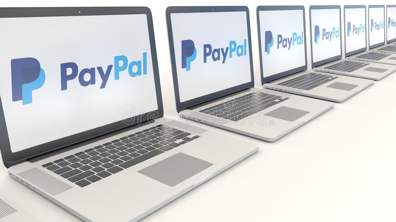 Modern laptops with PayPal logo. Computer technology conceptual editorial 3D rendering stock illustration