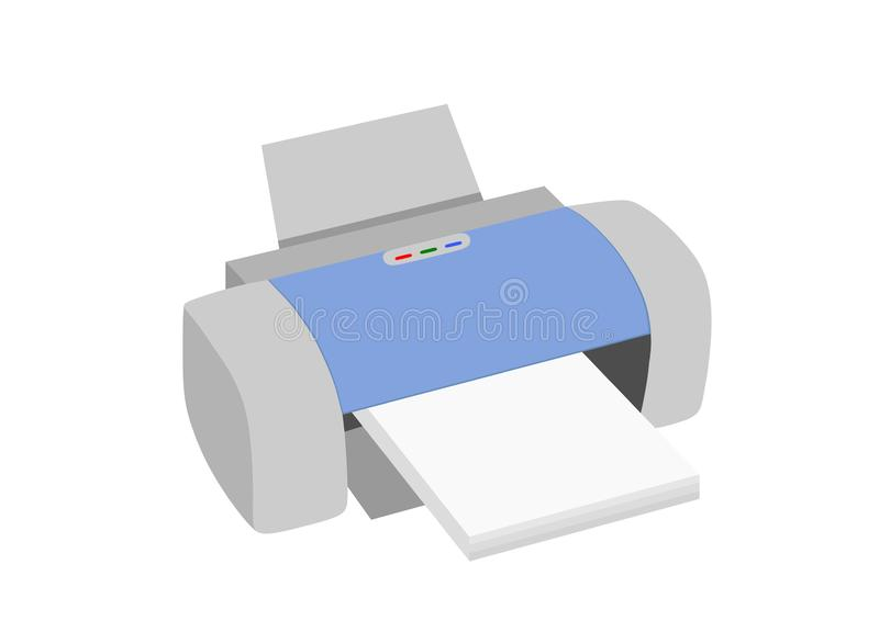 Laser printer with paper clipart isolated image. Modern laser printer with paper ready to print clipart isolated image office equipment stock illustration