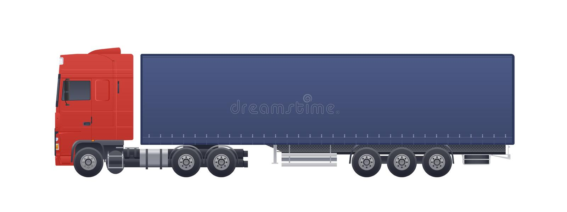 Modern lastbil eller lastbil som isoleras p? vit bakgrund Sidosikter Medel för kommersiell väg med dieselmotorn, bil vektor illustrationer