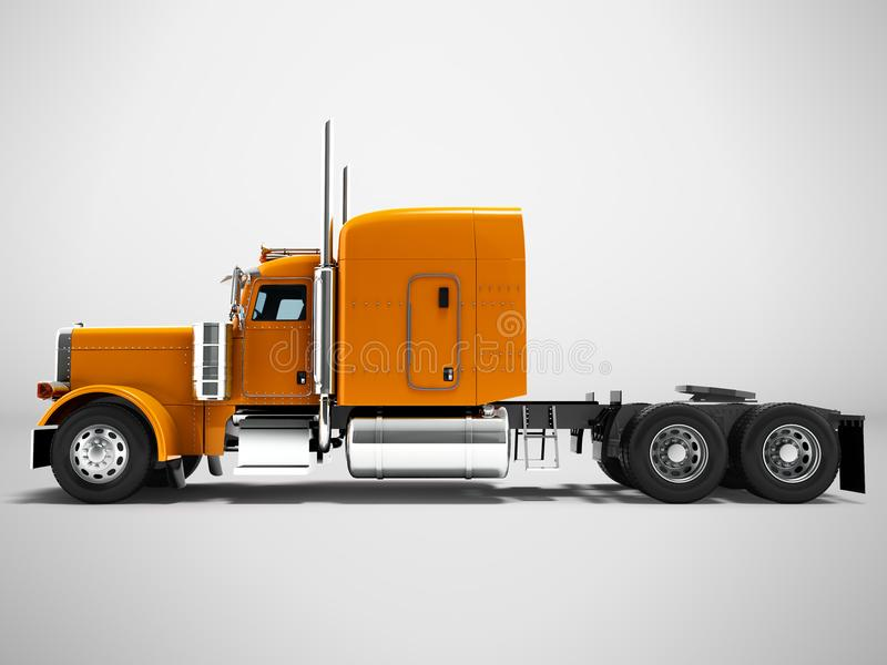 Modern lastbiltraktor för axel för last tre utan släpapelsinen stock illustrationer