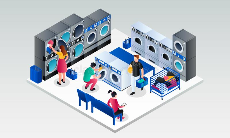 Modern laundry room banner, isometric style vector illustration