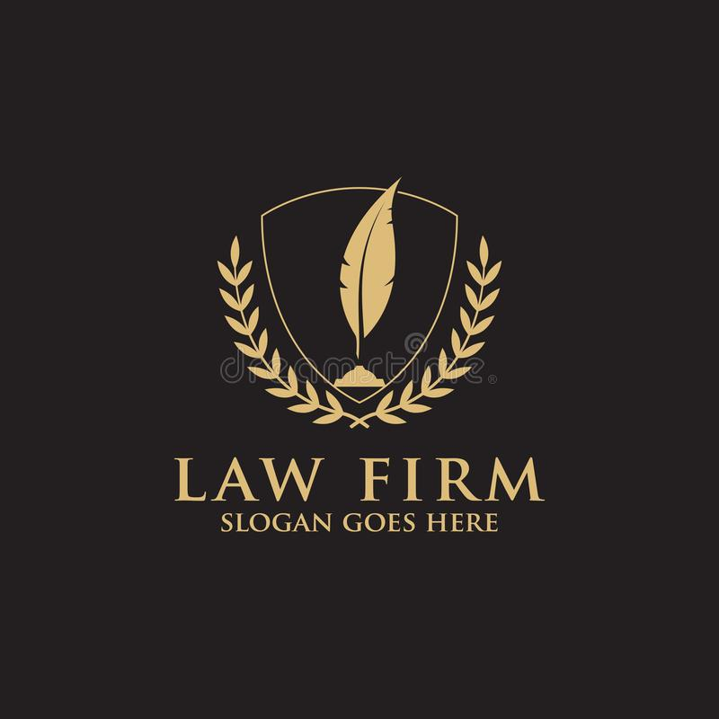 Modern Law Firm Logo Inspiration with feather pen -  clean and clever logo vector stock illustration