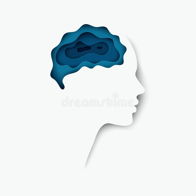 Modern layered cut out colored paper human profile with brain vector illustration