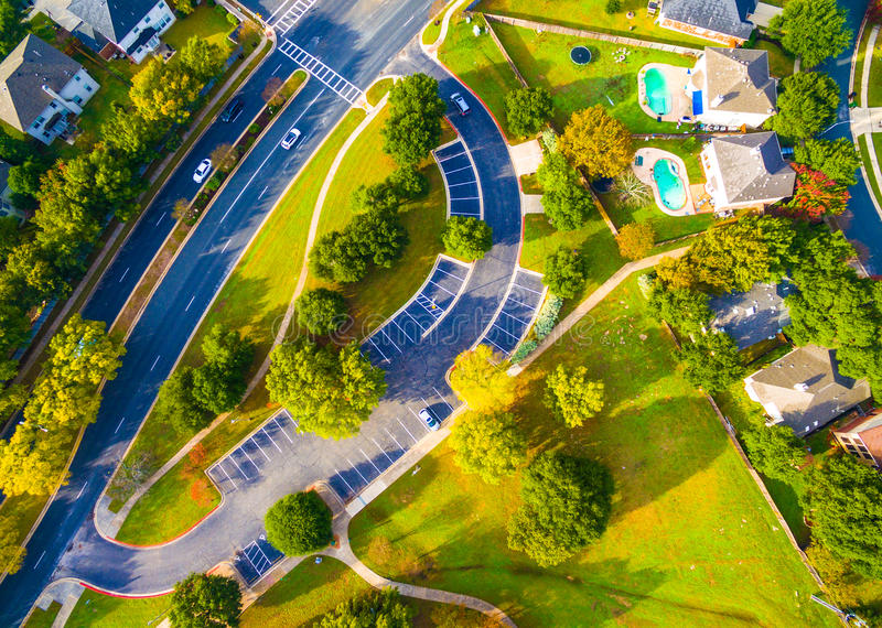 Modern Layout Suburban Neighborhood Austin Texas Aerial View. Above Autumn Colors Aerial on Suburbs Homes in Austin , Texas. Looking down Birds Eye View on stock photography