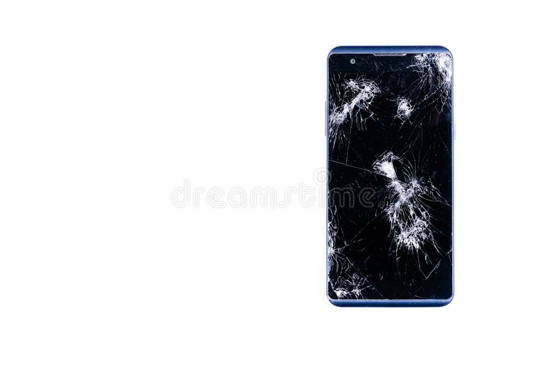Modern LCD touch screen display mobile smartphone is cracked and broken after drop. Broken phone glass close up view, isolated stock photography