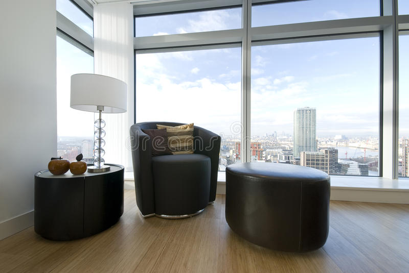 Download Modern Leather Armchair With Taboret Stock Image - Image: 13275025