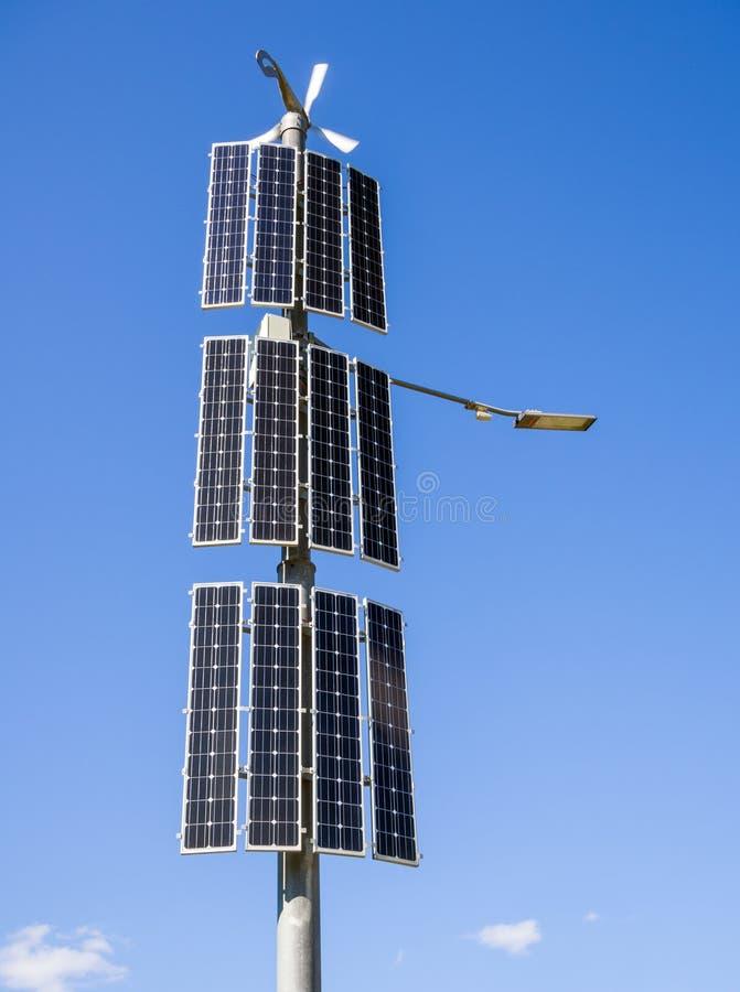 Modern LED street light powered by alternative energy.  royalty free stock image