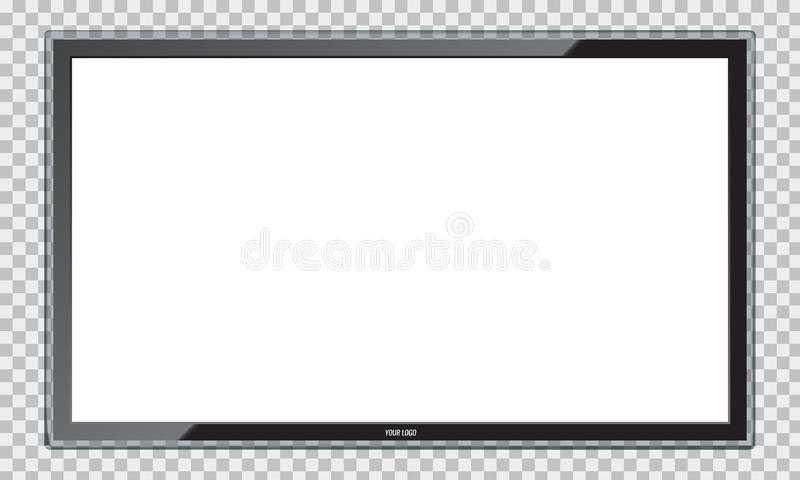 Modern Led TV screen with realistic reflection. Rasterized copy royalty free illustration