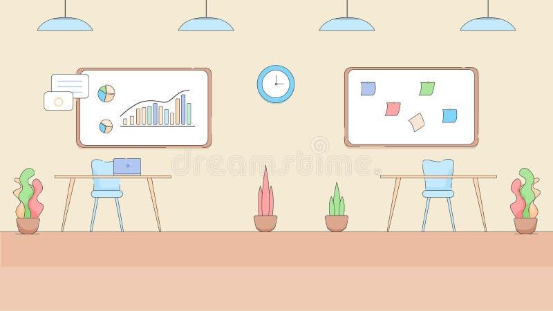 Modern Leeg Bureaubinnenland in Hi-Tech Stijl stock illustratie
