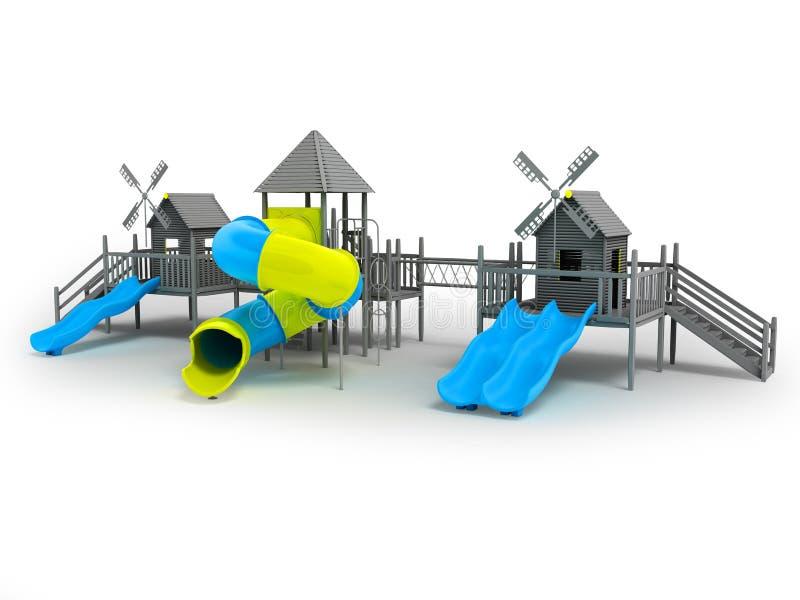 Modern lekplats för svartvita två blåa glidbanor för barn och en gul tolkning för mellanlägg 3d på en vit bakgrund med en shado stock illustrationer